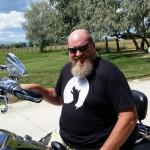 Mo sporting TeeGravy on his Harley